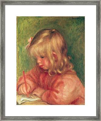 Child Drawing Framed Print by Pierre Auguste Renoir