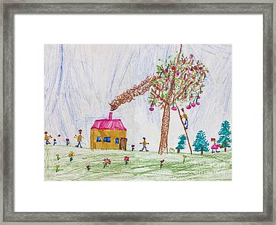 Child Drawing Of A Happy Family Framed Print