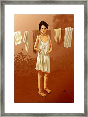 Framed Print featuring the painting Child In Need by Sena Wilson