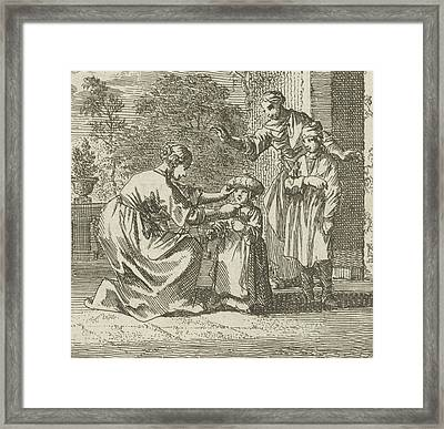 Child Is Given Protective Headgear In The Garden Framed Print