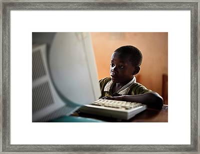 Child Learning Computer Skills Framed Print