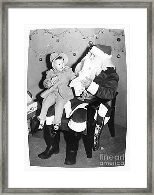 Child On Santas Lap 1950s Retro Framed Print by Vizual Studio