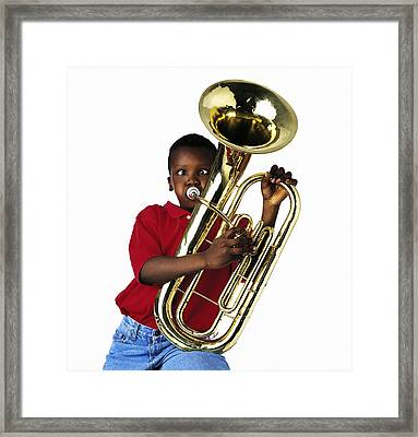 Child Playing Baritone Framed Print by Ron Nickel