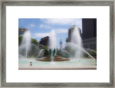 Child Playing In The Fountain In Philadelphia Framed Print