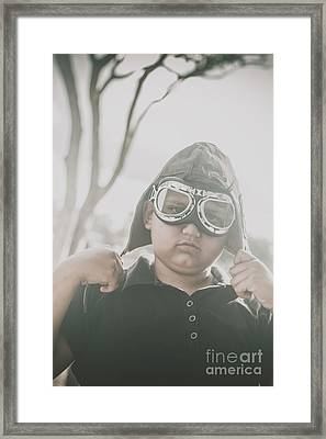 Child Playing With Airplane Aviator Hat Framed Print