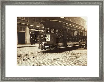 Child Riding On A Tram, Boston, 1909 Framed Print