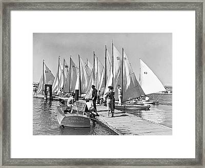 Child Skippers In La Regatta Framed Print by Underwood Archives