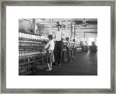 Child Spinner At Yarn Mills Framed Print