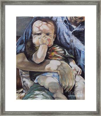 Child Under A Shade Of An Olive Tree Framed Print by Alessandra Andrisani