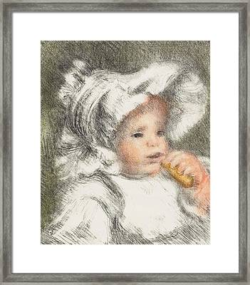 Child With A Biscuit Framed Print