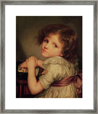 Child With A Doll Oil On Canvas Framed Print by Anne Genevieve Greuze