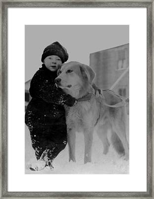 Child With Dog Alaska Framed Print