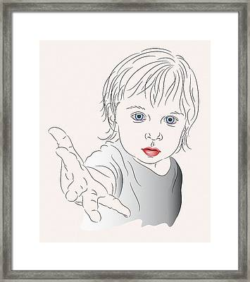 Child With Outstretched Hand Framed Print by MM Anderson