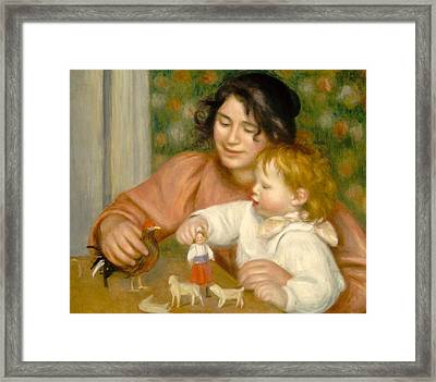 Child With Toys Gabrielle And The Artist S Son Jean Framed Print by Pierre Auguste Renoir
