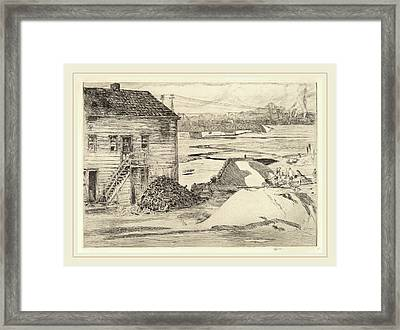 Childe Hassam, Low Tide, Cos Cob Bridge, American Framed Print by Litz Collection