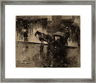 Childe Hassam, The Up-tide On The Avenue Framed Print by Quint Lox