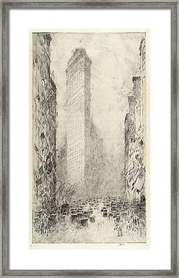 Childe Hassam, Washingtons Birthday, Fifth Avenue & 23rd Framed Print by Quint Lox