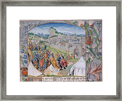 Childebert And Clothaire Framed Print by British Library