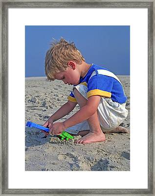 Framed Print featuring the photograph Childhood Beach Play by Marie Hicks