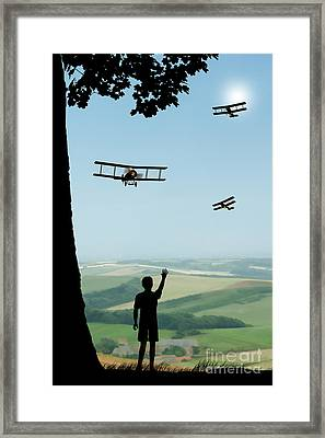 Childhood Dreams The Flypast Framed Print by John Edwards