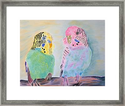 Childhood Parakeets Framed Print