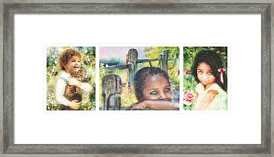 Childhood Triptic Framed Print by Mo T