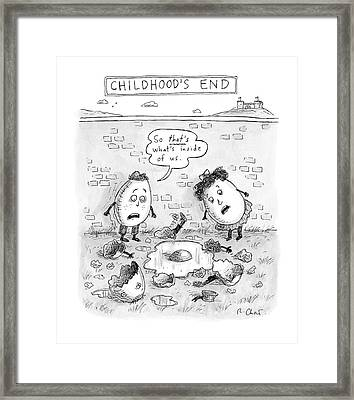 Childhood's End: Two Egg-children Stand Framed Print by Roz Chast