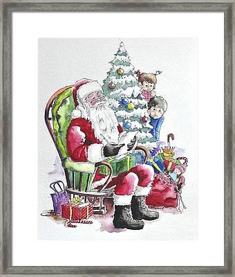 Childre Sneaking Around Santa Framed Print