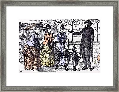 Children And A Broken Egg-shell 1874 Ladies Man Walk Street Framed Print by English School