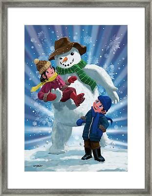 Children And Snowman Playing Together Framed Print by Martin Davey