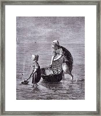 Children And The Cradle Framed Print