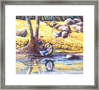 Children And The  Old Tire Swing Framed Print by Reveille Kennedy
