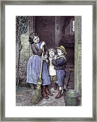 Children And The Saturdays Purchase 1891 Straw Hat Broom Framed Print by English School