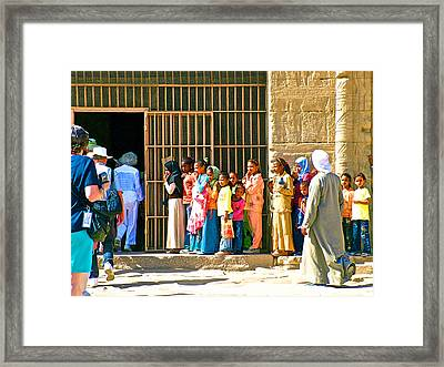 Children And Tourists At Entry To Temple Of Hathor In Dendera-egypt Copy Framed Print