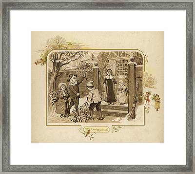 Children Arrive Home And Proudly Framed Print by Mary Evans Picture Library