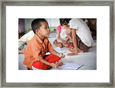 Children At School Framed Print by Matthew Oldfield