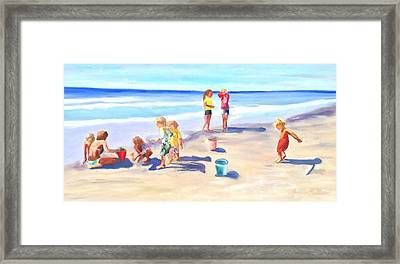Children At The Beach Framed Print