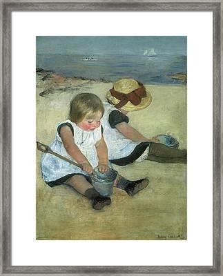 Children At The Seashore Framed Print by Mary Cassatt