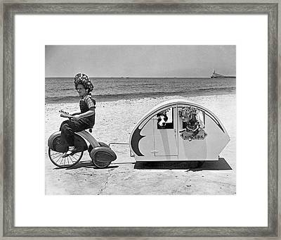 Children Beach Tour Framed Print by Underwood Archives