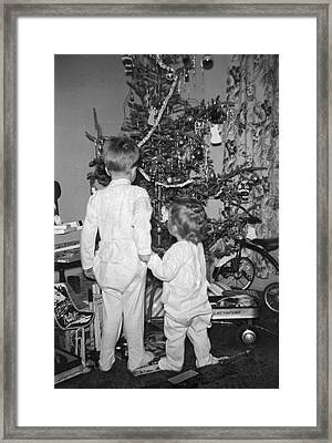 Children Check Christmas Tree Framed Print by Underwood Archives