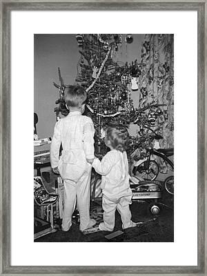 Children Check Christmas Tree Framed Print