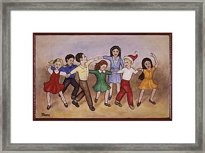 Children Dancing Framed Print by Linda Mears