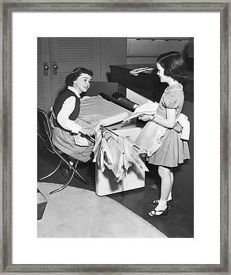Children Doing Housework Framed Print by Underwood Archives