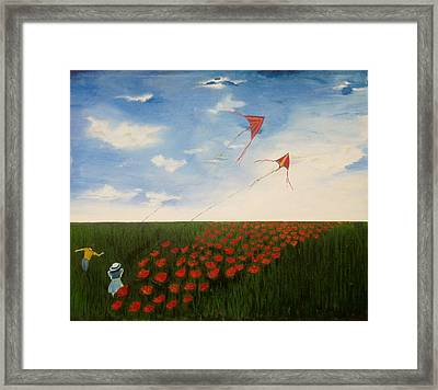 Children Flying Kites Framed Print by Rejeena Niaz