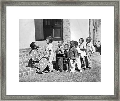 Children Get School Inspection Framed Print by Underwood Archives