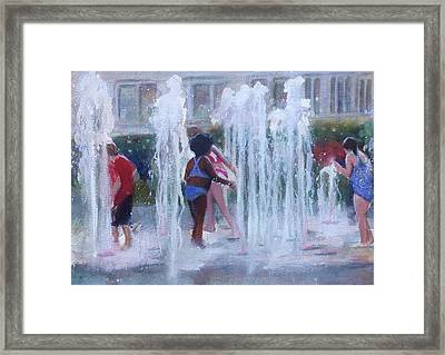 Children In Fountains Framed Print