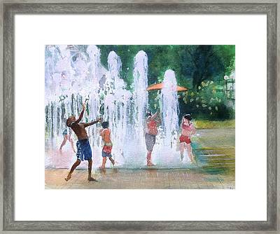 Children In Fountains II Framed Print