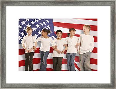 Children In Front Of American Flag Framed Print by Don Hammond