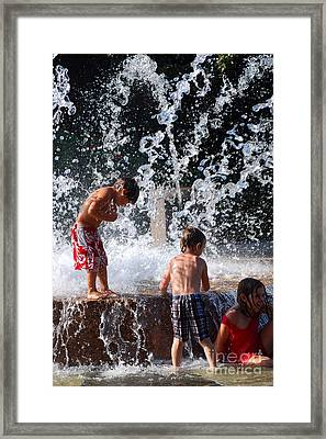 Children In The Fountain Framed Print