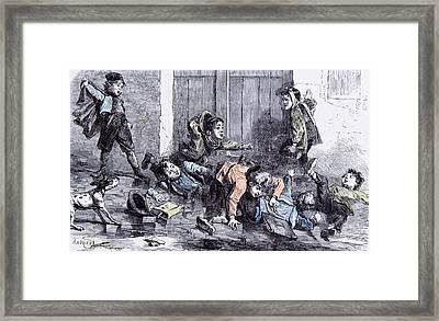 Children In The Winter Of 1879 Slipppery Wooden Shoes Dog Framed Print